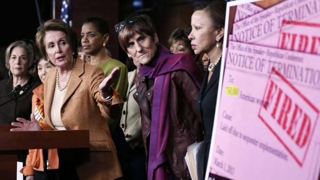 Flanked by Democratic female House members, Minority Leader Rep. Nancy Pelosi speaks about the sequester on Feb. 28.