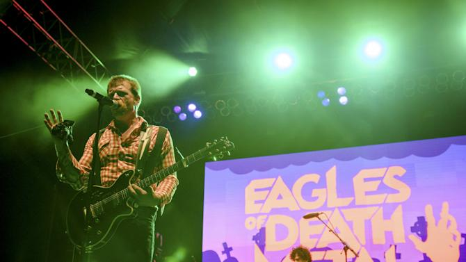 Jesse Hughes of the rock band Eagles of Death Metal performs with drummer Joey Castillo at Festival Supreme at Shrine Auditorium in Los Angeles, California