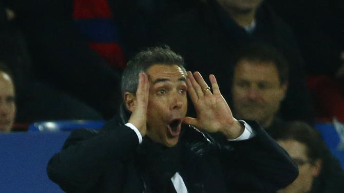 FC Basel's coach Sousa reacts during their Champions League Group B soccer match against Real Madrid in Basel