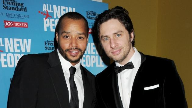 Donald Faison and Zach Braff attend an after party celebrating the press night performance of 'All New People' at St Martin's Lane Hotel, London, on February 28, 2012 -- Getty Images