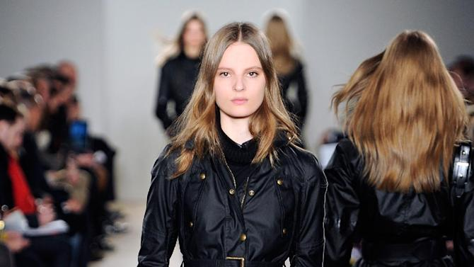 In this photo provided by  Belstaff, a model walks the runway during the Belstaff Fall 2013 fashion show during Fashion Week, Monday, Feb. 11, 2013, in New York. (AP Photo/ Belstaff)