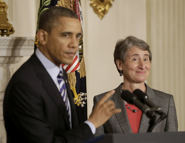 <p>               President Barack Obama points towards REI CEO Sally Jewell as he announces that he is nominating her as the next interior secretary replacing outgoing Interior Secretary Ken Salazar, Wednesday, Feb. 6, 2013, in the State Dining Room of the White House in Washington.  (AP Photo/Pablo Martinez Monsivais)