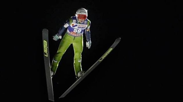 Jaka Hvala of Slovenia topped ski jumping qualifying ahead of the World Cup event in Kuusamo, Finland.