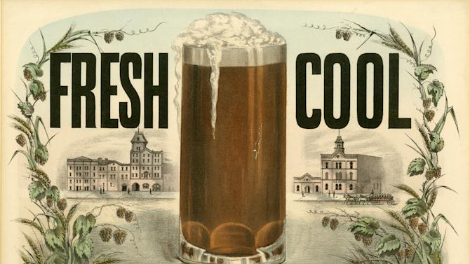 "This undated photo provided by the New-York Historical Society shows a Currier & Ives color lithograph ""Fresh Cool Lager Beer,"" dated 1877-1894, which will be a part of the uncoming exhibit ""Beer Here,"" featuring a small beer hall and the chance to try a selection of New York City and state artisanal beers. (AP Photo/ New-York Historical Society)"