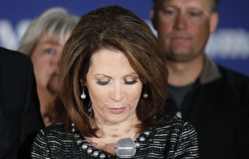 Republican presidential candidate Michele Bachmann announces the end of her presidential campaign in West Des Moines