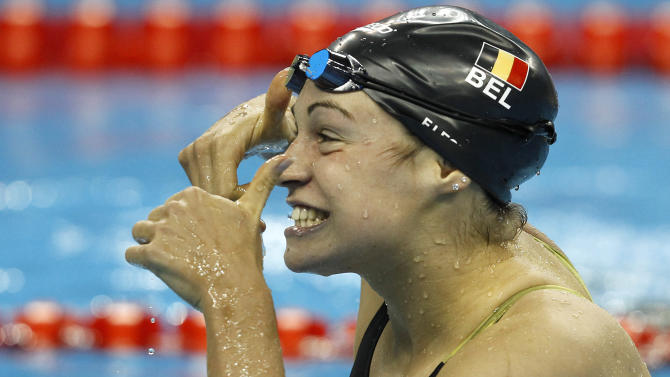 Belgium's Fanny Lecluyse gestures after competing in a women's 200m Breaststroke semifinal at the FINA Swimming World Championships in Shanghai, China, Thursday, July 28, 2011. (AP Photo/Wong Maye-E)