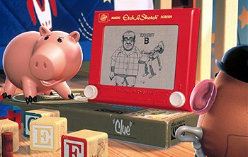Hamm uses an Etch-A-Sketch to reconstruct the events surrounding Woody's kidnapping as Mr. Potato Head® observes in Disney's Toy Story 2