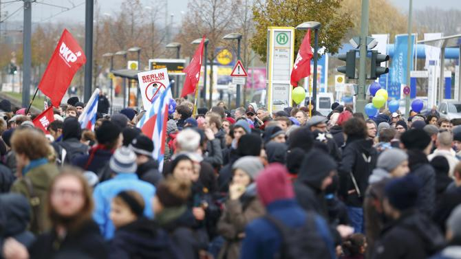 Protesters take part in an anti-Nazi demonstration in Berlin's Landsberger Allee