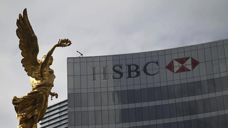 The Angel of Independence is seen near a HSBC building in Mexico City