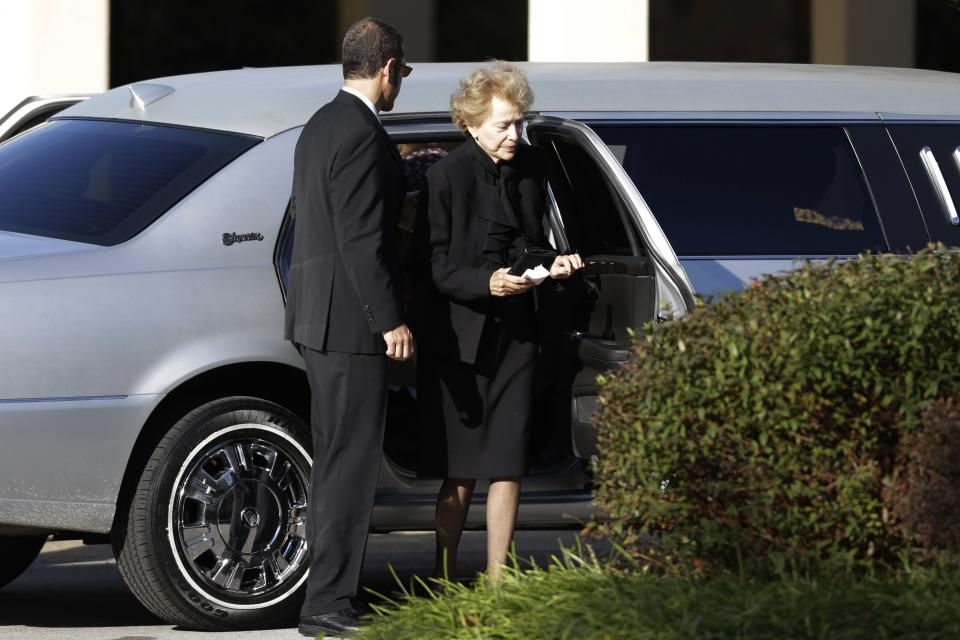Joan Specter arrives at Har Zion Temple for the funeral of her husband, former U.S. Sen. Arlen Specter, Tuesday, Oct. 16, 2012, in Penn Valley, Pa. Family members say Specter died Sunday of complications from non-Hodgkin lymphoma. He was 82. (AP Photo/Matt Rourke)