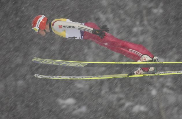 Johannes Rydzek of Germany jumps at the large hill during the FIS Nordic Combined World Cup competition in Lillehammer