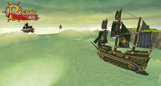 This undated image provided by : KingsIsle Entertainment shows Pirate101, the follow-up to the popular online kids game Wizard101, which launching to the general public on Oct. 15 and to paying players on Monday, Oct. 8, 2012. The game from KingIsle Entertainment lets players take on the role of an orphan pirate who assembles a crew and adventures his way through a virtual world where ships sail the sky. (AP Photo/: KingsIsle Entertainment)