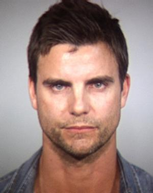 """In this Tempe Police Department booking photo released Wednesday, April 2, 2014, shows Colin Egglesfield in Tempe, Ariz. Authorities said the Egglesfield was arrested on allegations that he damaged property at an Arizona arts festival. Tempe police said the 41-year-old actor known for his roles on """"The Client List"""" and """"All My Children"""" was arrested around Saturday on charges of disorderly conduct and criminal damage. (AP Photo/Tempe Police Department)"""