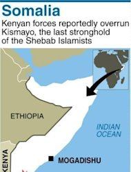 Map of Somalia locating Kenyan capture of Kismayo from Shebab Islamists. Al-Qaeda linked Shebab fighters have abandoned their last bastion in Somalia, retreating from the port city of Kismayo almost a year after Kenya sent troops to rout the Islamists