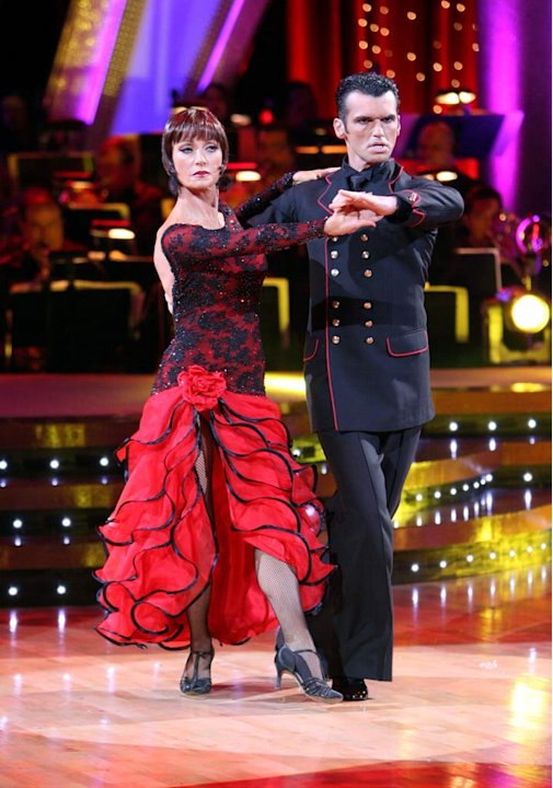 Jane Seymour and Tony Dovolani perform a dance on the 5th season of Dancing with the Stars.
