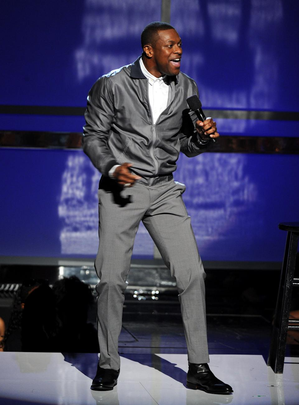 Chris Tucker speaks onstage at the BET Awards at the Nokia Theatre on Sunday, June 30, 2013, in Los Angeles. (Photo by Frank Micelotta/Invision/AP)