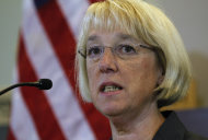 Sen. Patty Murray answers a question during a news conference following a visit to the headquarters of Amazon.com Wednesday, Aug. 10, 2011, in Seattle. On Tuesday, Senate Majority Leader Harry Reid named Murray, as well as Sens. John Kerry, D-Mass., and Max Baucus, D-Mont., to a powerful new committee tasked to find a bipartisan plan to slash the federal budget deficit. (AP Photo/Elaine Thompson)