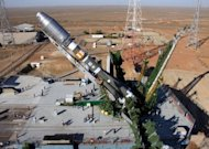 A Soyuz rocket is erected on the launch pad of the Russian leased Kazakhstan's Baikonur cosmodrome