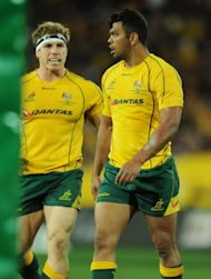 Australia&#39;s Kurtley Beale (R) and David Pocock during their Bledisloe Cup match against New Zealand in August. Beale is recalled to the starting line-up at fullback and Queensland winger Dominic Shipperley is named for his Test debut
