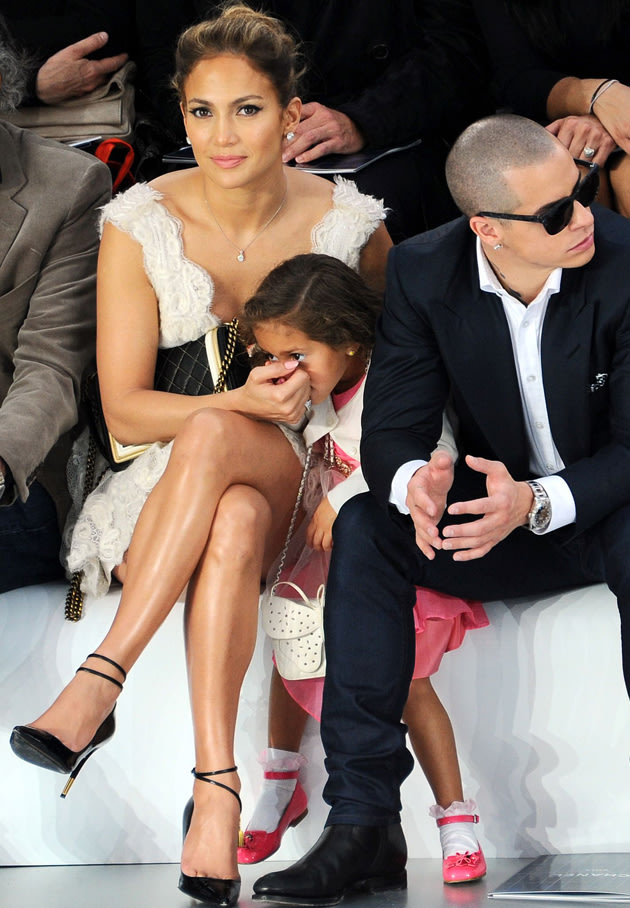 JLO's daughter wore a cute little dress and matching shoes. Copyright ...