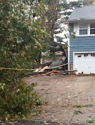 Tree crushed car and house in, Dleran, NJ Hurricane Sandy