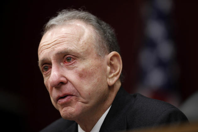 FILE - In this Monday, March 29, 2010, file photo, Sen. Arlen Specter, D-Pa., leads a Senate field hearing, in Philadelphia. Former U.S. Sen. Arlen Specter, longtime Senate moderate and architect of o
