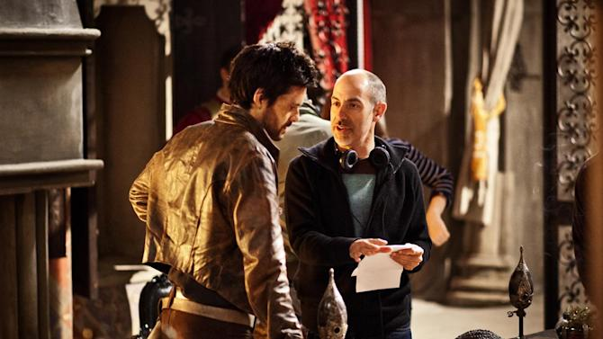 """This publicity image released by Starz shows actor Tom Riley, left, and creator David S. Goyer on the set of """"Da Vinci's Demons,"""" premiering Friday, April 12 at 10 p.m. EST on Starz. (AP Photo/Starz Entertainment, LLC, Grace Cromey-Hawke)"""