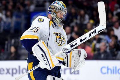 Pekka Rinne made a spectacular stick save with the puck on the goal line