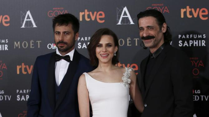 Actors Silva, Garrido and Fresneda pose on the red carpet before the Spanish Film Academy's Goya Awards ceremony in Madrid