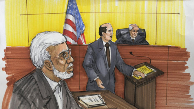 In this courtroom sketch, Chicago businessman Tahawwur Rana is shown in federal court as the Tuesday, June 7, 2011, in Chicago. Rana, 50, is accused in the 2008 Mumbai rampage that left more than 160 people dead, and planning an attack that was never carried out on a Danish newspaper. He pleaded not guilty to the charges, including material support to terrorism. (AP Photo/Tom Gianni)