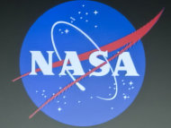 The logo of NASA, the National Aeronautics and Space Administration.