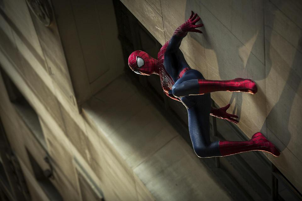 "In this publicity photo released by Sony Pictures Entertainment, Andrew Garfield stars as Spider-Man in Columbia Pictures' ""The Amazing Spider-Man 2,"" also starring Emma Stone. The film is in theaters May 2, 2014. (AP Photo/Sony Pictures Entertainment, Niko Tavernise)"
