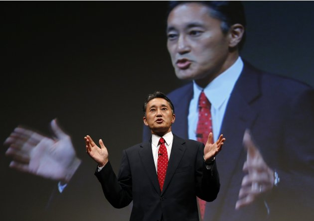 Sony Corp's President and CEO Hirai speaks during Sony Corporate Strategy Meeting at the company's headquarters in Tokyo