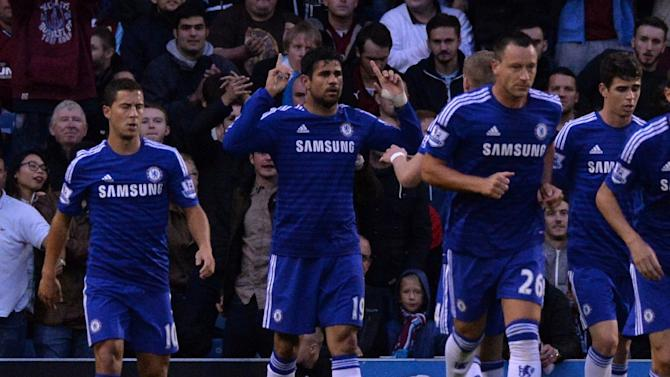 Diego Costa (centre) celebrates his first goal for Chelsea against Burnley at Turf Moor on August 18, 2014