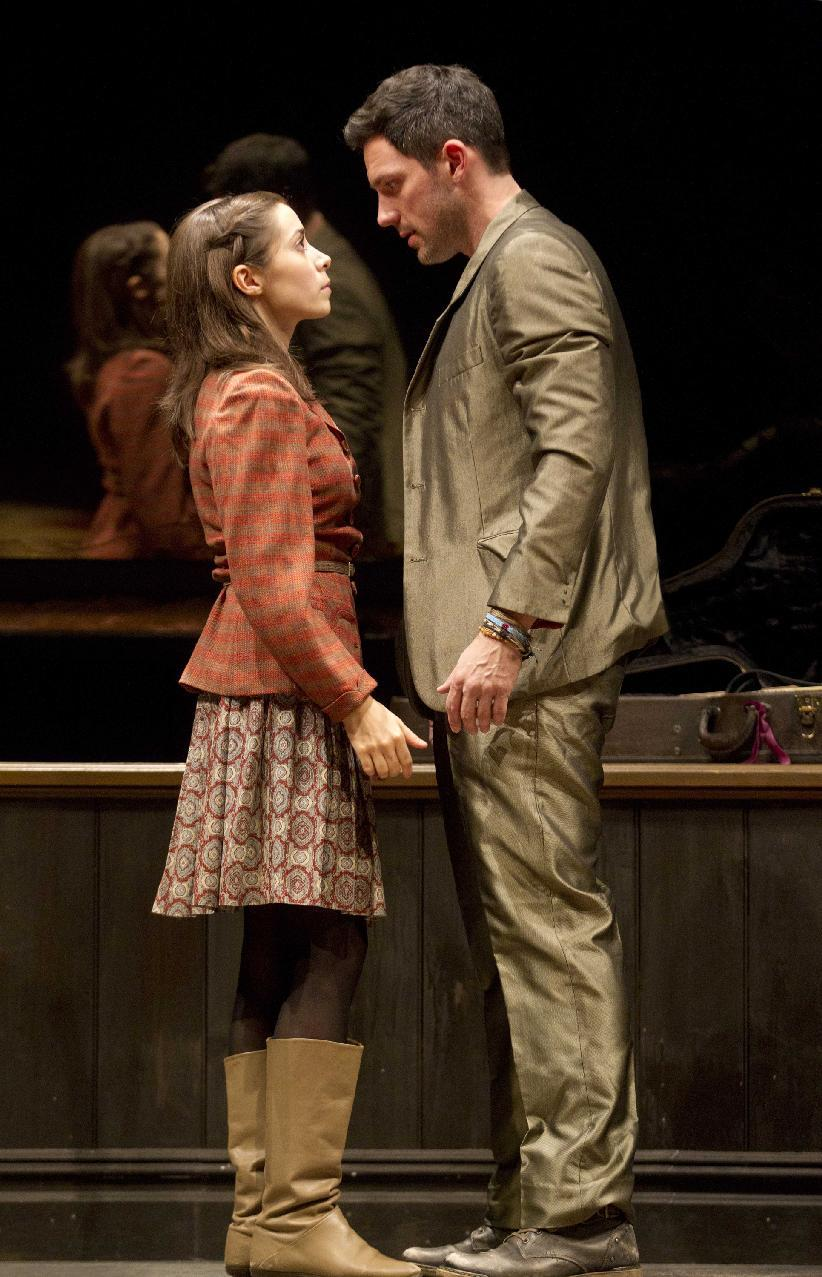 "In this theater publicity image released by Boneau/Bryan-Brown, Steve Kazee, right, and Cristin Milioti are shown in a scene from ""Once,"" in New York. (AP Photo/Boneau/Bryan-Brown, Joan Marcus)"