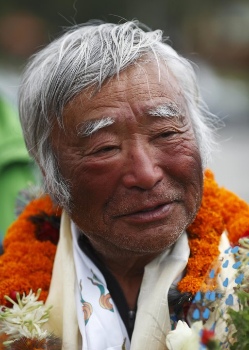 The sunburnt face of Japanese mountain climber Yuichiro Miura, 80, is pictured upon his arrival at the airport after climbing Mount Everest, in Kathmandu