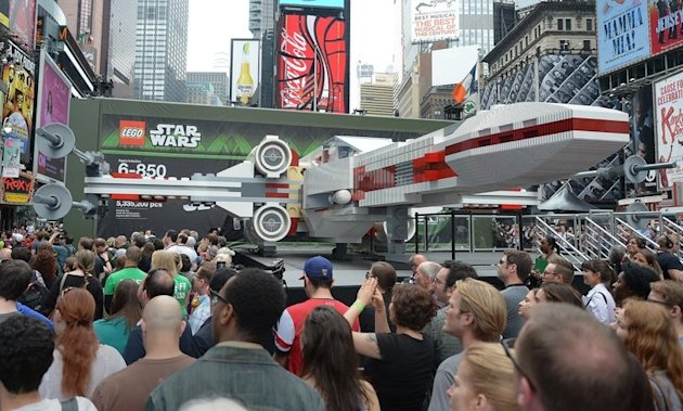 The world's largest LEGO model, a Star Wars X-Wing spaceship has landed on New York's Times Square on May 23, 2013