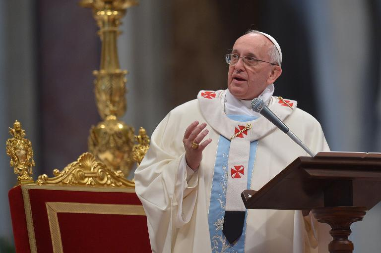 Pope Francis leads a mass at St Peter's Basilica on January 1, 2014 at the Vatican