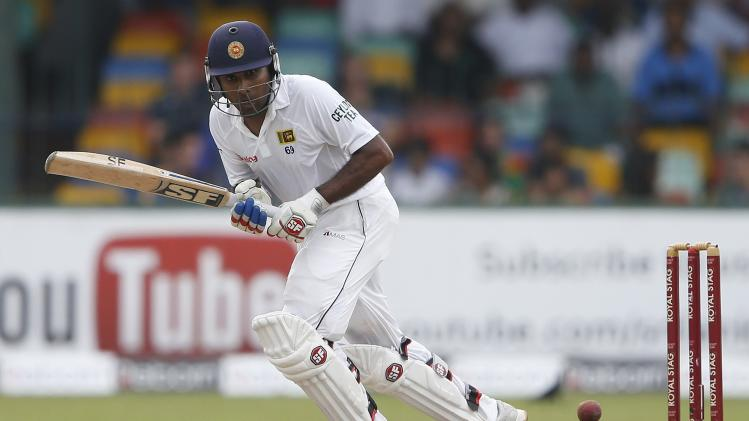 Sri Lanka's Jayawardene plays a shot during the first day of their second test cricket match against South Africa in Colombo