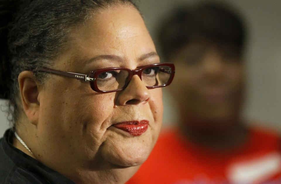 "Karen Lewis, president of the Chicago teachers union listens to a question after meeting of the union's House of Delegates Friday, Sept. 14, 2012, in Chicago. Lewis told the delegates that a ""framework"" was in place to end the teachers strike. (AP Photo/Charles Rex Arbogast)"