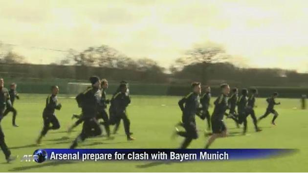 Arsenal train ahead of Bayern Munich game