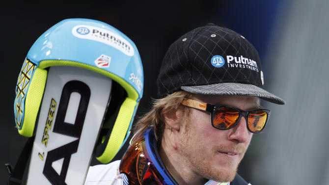 United States's TedLigety is seen after winning the gold medal in the men's giant slalom at the Alpine skiing world championships in Schladming, Austria, Friday, Feb.15,2013. (AP Photo/Matthias Schrader)