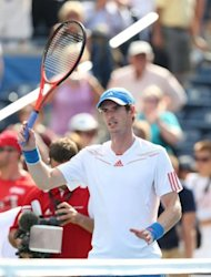 Andy Murray of Scotland celebrates after winning his match against Flavio Cipolla during the Rogers Cup Presented By National Bank at Rexall Centre at York University, on August 8, in Toronto, Ontario, Canada. Murray won 6-1, 6-3