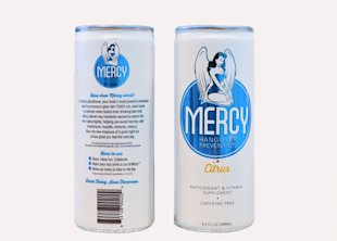 Mercy is a caffeine-free, non-alcoholic beverage that helps prevent hangovers and it just launched its newly designed can featuring an angel and blue shield.