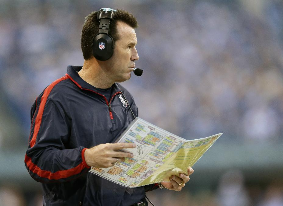 Houston Texans head coach Gary Kubiak watches during the first half of an NFL football game against the Indianapolis Colts, Sunday, Dec. 30, 2012, in Indianapolis. (AP Photo/Michael Conroy)