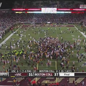Boston College Fans Storm The Field After Boston College Upsets USC | ACC Must See Moment