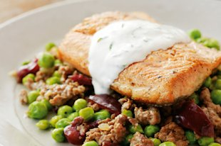 Seared Artic Char with Lamb Cherry Hash