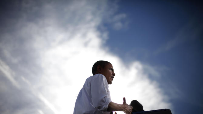 President Barack Obama speaks during a campaign event at Cheyenne Sports Complex in Las Vegas, Thursday, Nov. 1, 2012.  (AP Photo/Pablo Martinez Monsivais)