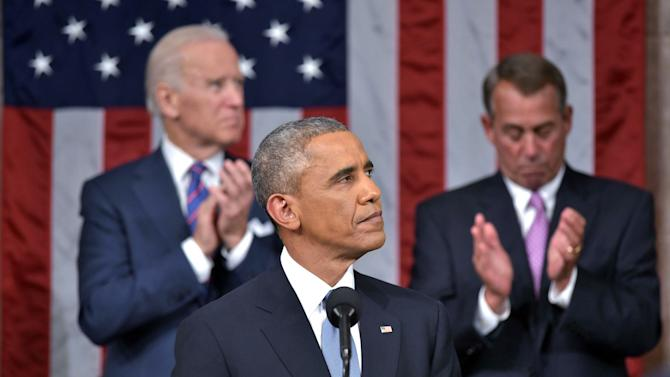 U.S. President Barack Obama delivers his State of the Union address to a joint session of Congress on Capitol Hill in Washington
