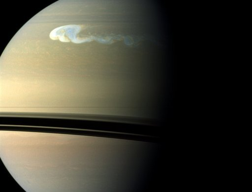 Image of Saturn taken in 2010 shows a storm with a latitudinal and longitudinal extent of 10,000 km and 17,000 km